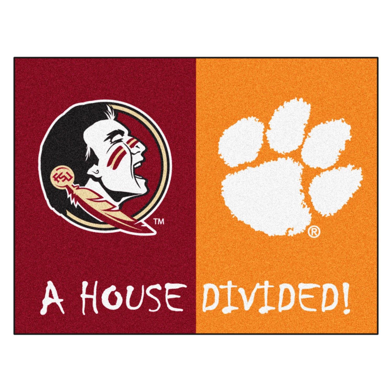 Florida State Seminoles Football Floor Mat: Florida State And Clemson Logo On House