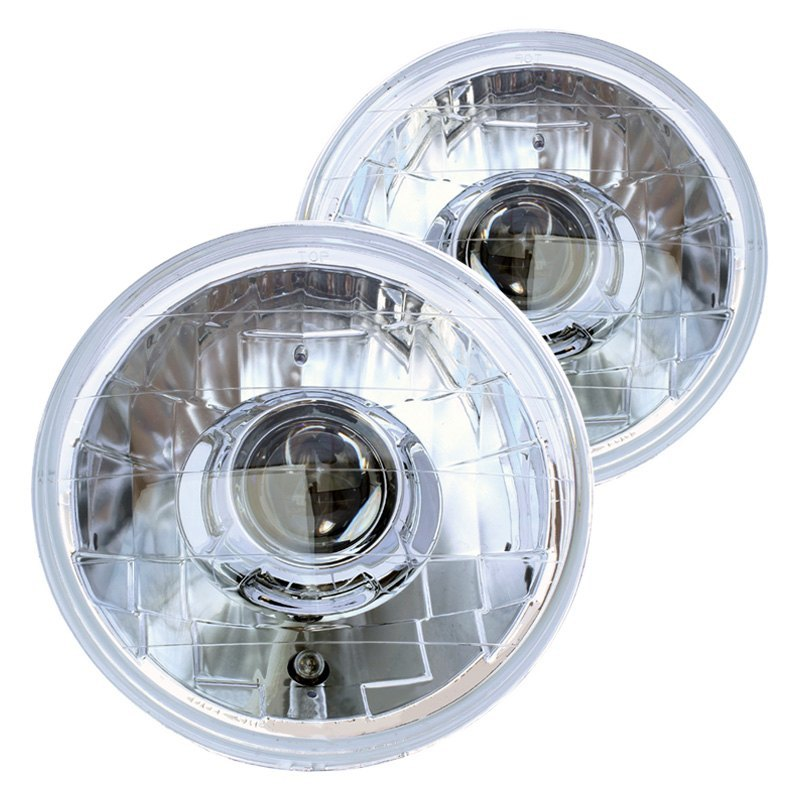 """7/"""" Round H4 Conversion Crystal Glass Lens Projector Head Lights Lamps Set Chrome"""