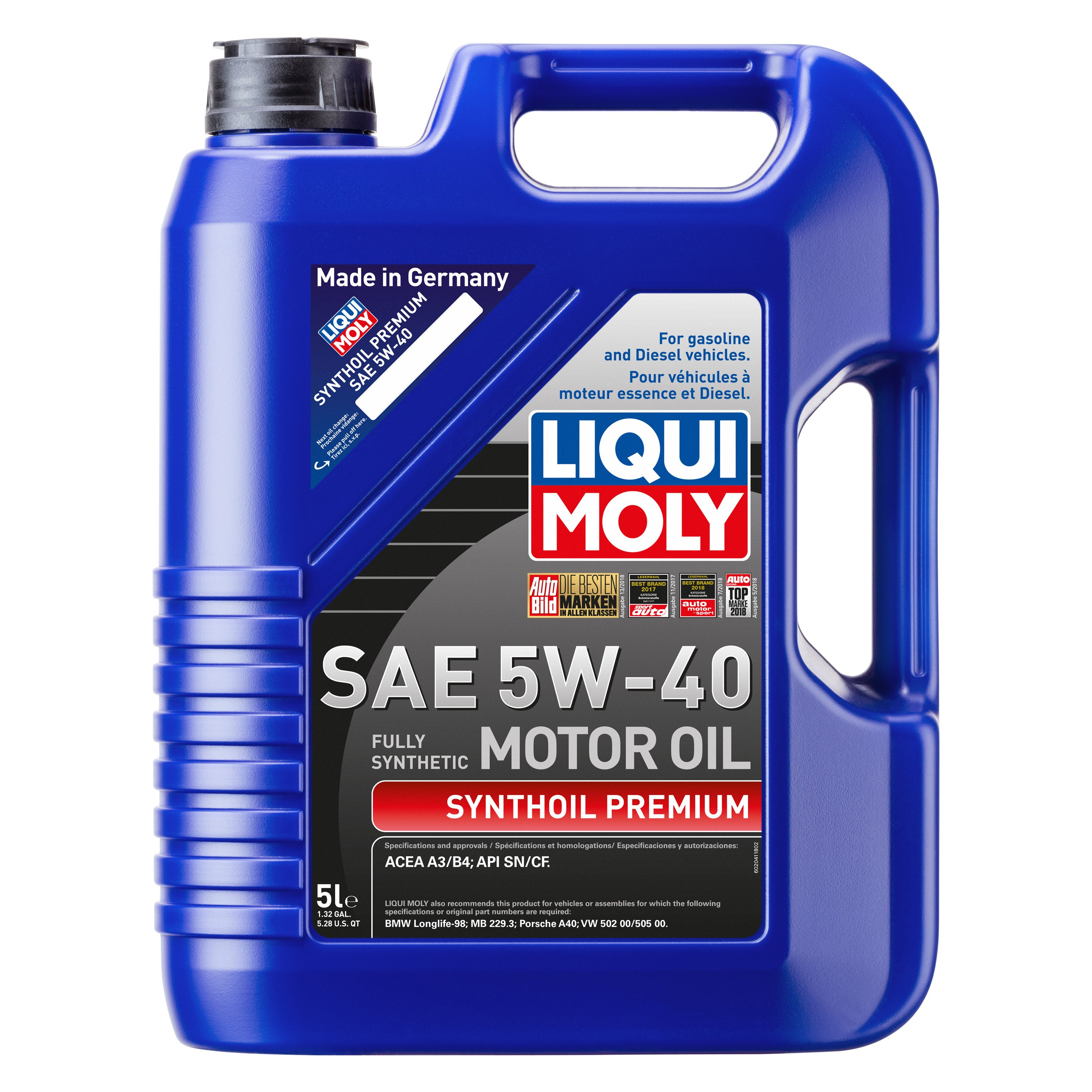 liqui moly 2041 synthoil premium sae 5w 40 synthetic. Black Bedroom Furniture Sets. Home Design Ideas