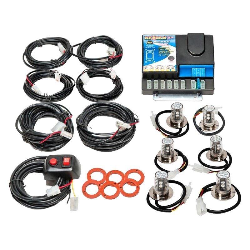 Wolo® 8506-24-4C2B - Nexgen Plus™ Heads Blue/White LED Hideaway Strobe  Light Kit